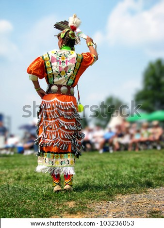 WEST FRIENDSHIP, MD - JUNE 20: Native American Indian jingle dancer competes at the Howard County Pow Wow on June 20, 2008 in West Friendship, MD