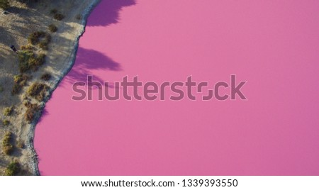 West gate park's pink lake. Aerial shots were taken with a drone. This lake only goes pink every few years. In Melbourne, Australia.