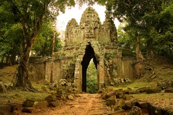 West gate to the Angkor Thom in Cambodia, an ancient temple complex.
