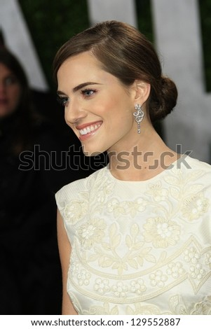 WEST HOLLYWOOD, CA - FEB 24: Allison Williams at the Vanity Fair Oscar Party at Sunset Tower on February 24, 2013 in West Hollywood, California