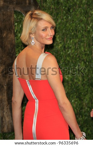 WEST HOLLYWOOD, CA - FEB 26: Cameron Diaz at the Vanity Fair Oscar Party at Sunset Tower on February 26, 2012 in West Hollywood, California.