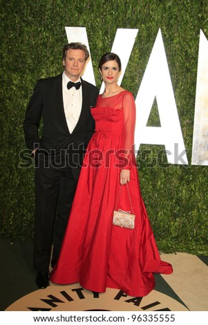 WEST HOLLYWOOD, CA - FEB 26: Colin Firth; wife at the Vanity Fair Oscar Party at Sunset Tower on February 26, 2012 in West Hollywood, California.