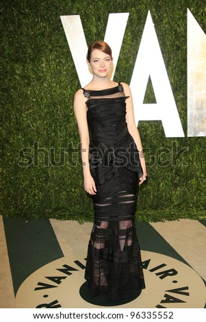 WEST HOLLYWOOD, CA - FEB 26: Emma Stone at the Vanity Fair Oscar Party at Sunset Tower on February 26, 2012 in West Hollywood, California.