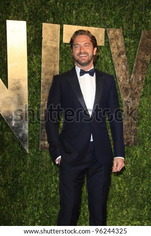WEST HOLLYWOOD, CA - FEB 26: Gerard Butler at the Vanity Fair Oscar Party at Sunset Tower on February 26, 2012 in West Hollywood, California.