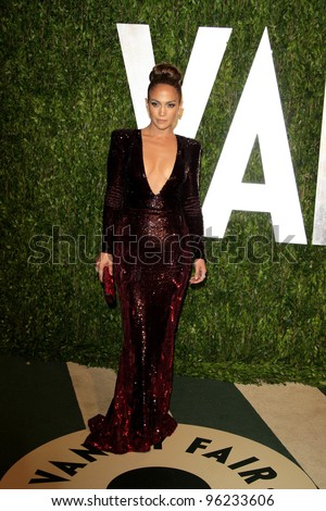 WEST HOLLYWOOD, CA - FEB 26: Jennifer Lopez at the Vanity Fair Oscar Party at Sunset Tower on February 26, 2012 in West Hollywood, California. - stock photo