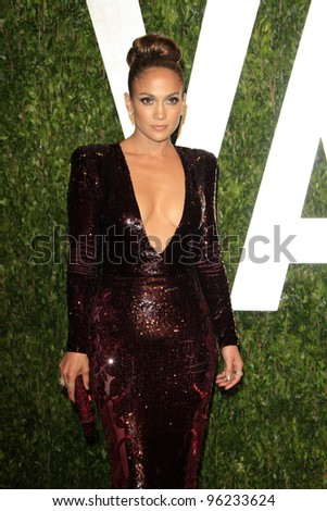 WEST HOLLYWOOD, CA - FEB 26: Jennifer Lopez at the Vanity Fair Oscar Party at Sunset Tower on February 26, 2012 in West Hollywood, California.