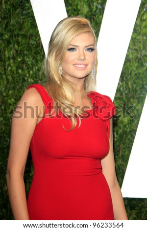 WEST HOLLYWOOD, CA - FEB 26: Kate Upton at the Vanity Fair Oscar Party at Sunset Tower on February 26, 2012 in West Hollywood, California. - stock photo