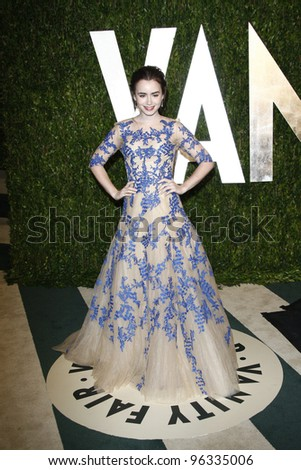 WEST HOLLYWOOD, CA - FEB 26: Lily Collins at the Vanity Fair Oscar Party at Sunset Tower on February 26, 2012 in West Hollywood, California.