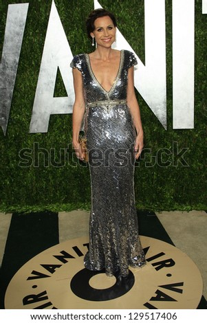 WEST HOLLYWOOD, CA - FEB 24: Minnie Driver at the Vanity Fair Oscar Party at Sunset Tower on February 24, 2013 in West Hollywood, California - stock photo