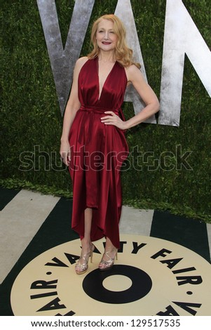 WEST HOLLYWOOD, CA - FEB 24: Patricia Clarkson at the Vanity Fair Oscar Party at Sunset Tower on February 24, 2013 in West Hollywood, California