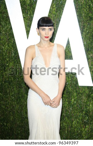 WEST HOLLYWOOD, CA - FEB 26: Rooney Mara at the Vanity Fair Oscar Party at Sunset Tower on February 26, 2012 in West Hollywood, California.