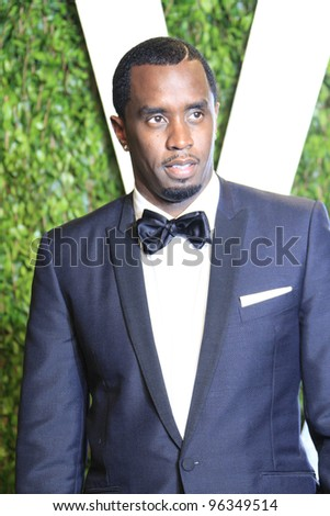 WEST HOLLYWOOD, CA - FEB 26: Sean 'Diddy' Combs at the Vanity Fair Oscar Party at Sunset Tower on February 26, 2012 in West Hollywood, California.