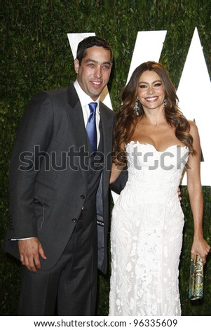 WEST HOLLYWOOD, CA - FEB 26: Sofia Vergara; Nick Loeb at the Vanity Fair Oscar Party at Sunset Tower on February 26, 2012 in West Hollywood, California.
