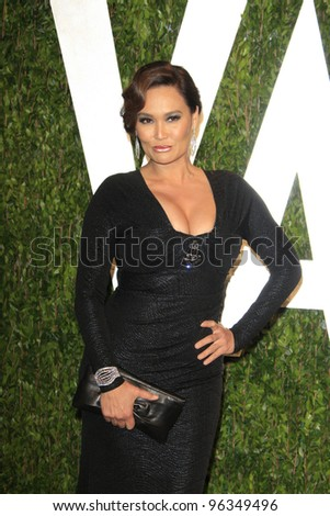 WEST HOLLYWOOD, CA - FEB 26: Tia Carrere at the Vanity Fair Oscar Party at Sunset Tower on February 26, 2012 in West Hollywood, California.