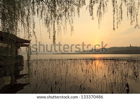 West Lake in Hangzhou, in the evening