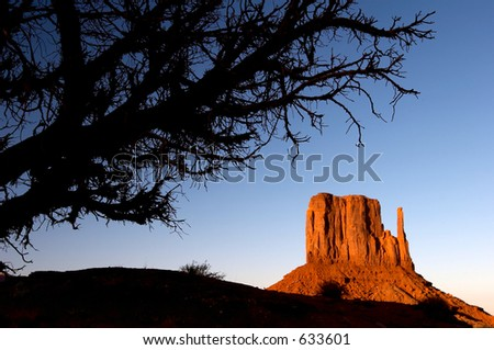 West Mitten Butte at sunset in the Monument Valley Navajo Tribal Park near Arizona and Utah borderline
