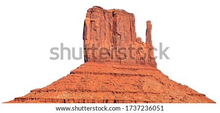 West Mitten Butte isolated on white background. It is one of the buttes in the Monument Valley Navajo Tribal Park in northeast Navajo County, Arizona