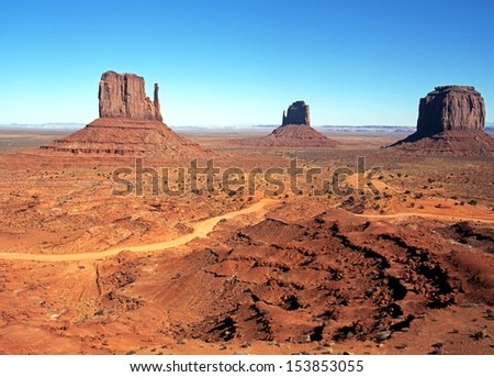 West Mitten, East Mitten and Merrick Butte, Monument Valley, Utah/Arizona, United States of America.