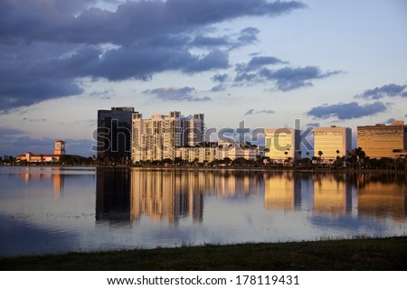 West Palm Beach, Florida architecture seen during the sunset