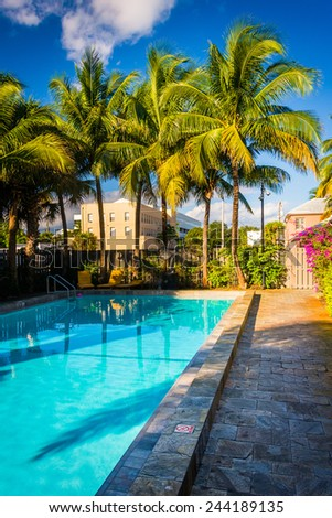 WEST PALM BEACH, FLORIDA - October 28: Swimming pool at the Hotel Biba on October 28, 2014 in West Palm Beach, Florida. The Hotel Biba is a boutique hotel in the resort city of West Palm Beach.