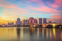 West Palm Beach, Florida, USA downtown skyline at dusk.