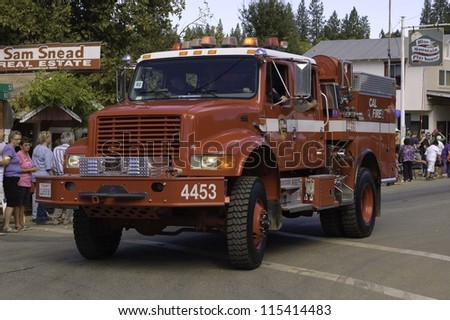 WEST POINT, CA - OCTOBER 6: Fire Engine in the 38th  Lumberjack day  parade, on October 6, 2012 in West Point.