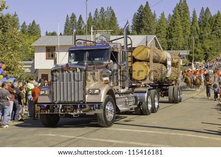 WEST POINT, CA - OCTOBER 6: Logging truck in celebrating the 38th  Lumberjack day  parade, on October 6, 2012 in West Point.