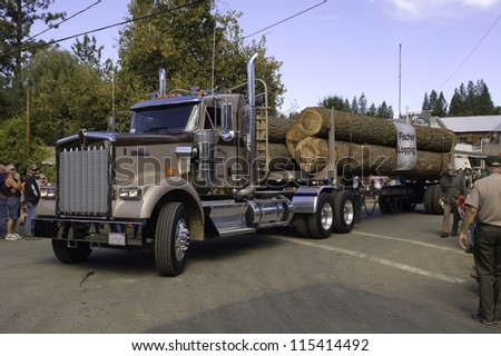 WEST POINT, CA - OCTOBER 6: Logging truck in the 38th  Lumberjack day  parade, on October 6, 2012 in West Point.