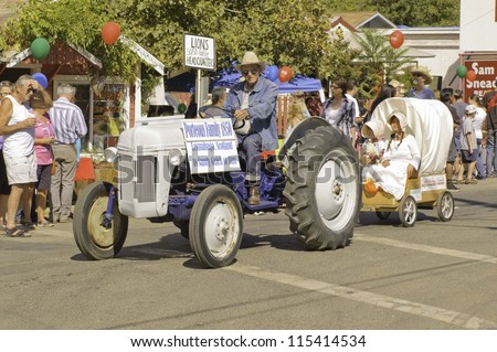 WEST POINT, CA - OCTOBER 6: Tractor in the 38th  Lumberjack day  parade, on October 6, 2012 in West Point.