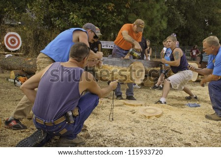 WEST POINT, CA - OCTOBER 6: Unidentified competitors in the two man saw, log cutting event at the Lumberjack day, on October 6, 2012 in West Point. West Point celebrates it\'s 38th Lumberjack day .