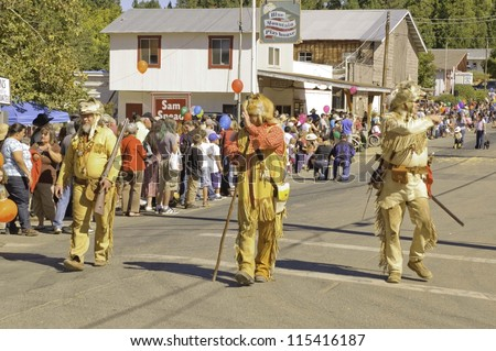 WEST POINT, CA - OCTOBER 6: Unidentified mountain men celebrating the 38th  Lumberjack day  parade, on October 6, 2012 in West Point.