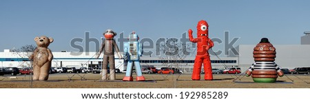 WEST POINT, GA � JANUARY 28: Large inflated toys on display in front of the Kia Motors plant located in West Point on January 28, 2011. The 2.2 million square foot assembly plant opened in 2009.