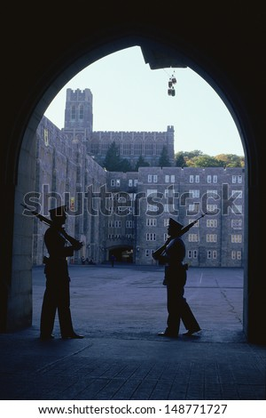 WEST POINT, NY - CIRCA 1986: Soldiers guarding building at West Point Military Academy