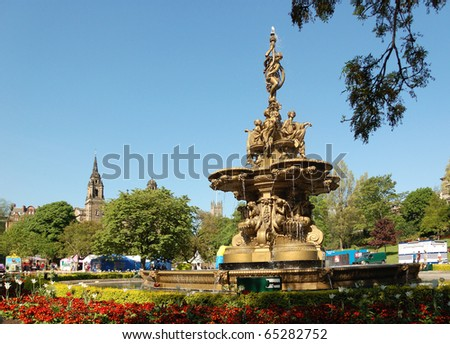 West Princes St Gardens - Ross Fountain - stock photo