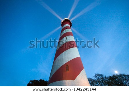 West Schouwen Lighthouse in Netherlands. Haamstede, Zeeland, Netherlands.