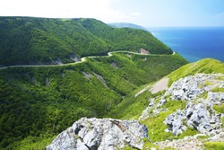 West side of Cabot Trail in Cape Breton Highlands National Park, Nova Scotia, Canada