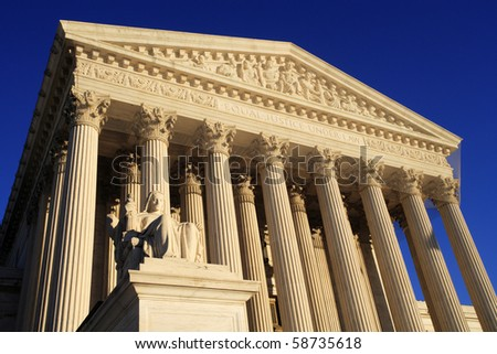 West side view of the United States Supreme Court building.