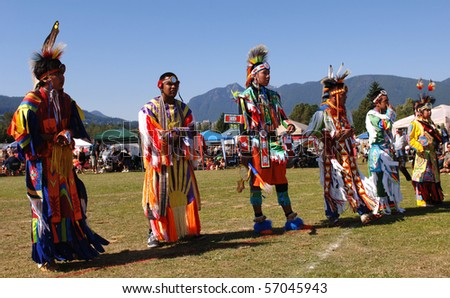 WEST VANCOUVER, BC, CANADA - JULY 10: Native Indian boys participate in annual Squamish Nation Pow Wow on July 10, 2010 in West Vancouver, BC, Canada