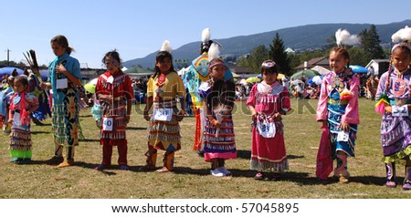 WEST VANCOUVER, BC, CANADA - JULY 10: Native Indian girls participate in annual Squamish Nation Pow Wow on July 10, 2010 in West Vancouver, BC, Canada