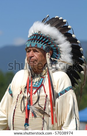 WEST VANCOUVER, BC, CANADA - JULY 10: Native Indian man participates in annual Squamish Nation Pow Wow on July 10, 2010 in West Vancouver, BC, Canada