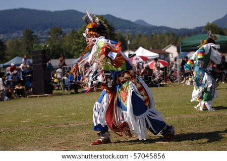 WEST VANCOUVER, BC, CANADA - JULY 10: Native Indians participate in annual Squamish Nation Pow Wow on July 10, 2010 in West Vancouver, BC, Canada - stock photo