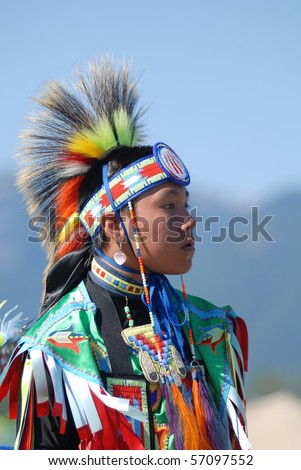 WEST VANCOUVER, BC, CANADA - JULY 10: Portrait of Native Indian boy taken during annual Squamish Nation Pow Wow on July 10, 2010 in West Vancouver, BC, Canada