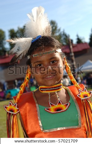 WEST VANCOUVER, BC, CANADA - JULY 10: Portrait of Native Indian girl taken during annual Squamish Nation Pow Wow on July 10, 2010 in West Vancouver, BC, Canada