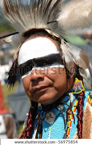 WEST VANCOUVER, BC, CANADA - JULY 10: Portrait of Native Indian man taken during annual Squamish Nation Pow Wow on July 10, 2010 in West Vancouver, BC, Canada