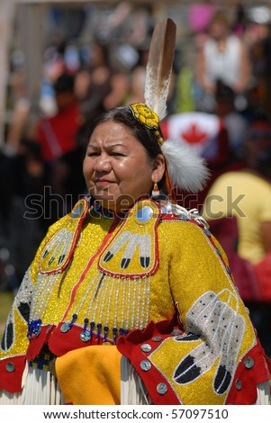 WEST VANCOUVER, BC, CANADA - JULY 10: Portrait of Native Indian woman taken during annual Squamish Nation Pow Wow on July 10, 2010 in West Vancouver, BC, Canada