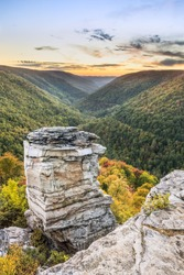 West Virginia's Blackwater River Canyon is viewed from Lindy Point at sundown.