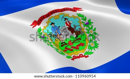 West Virginian flag in the wind. Part of a series.