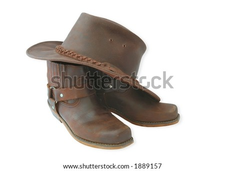 western boots and hat-isolated
