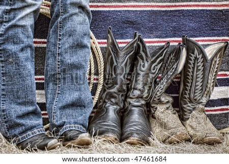 Western boots and rope