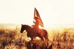 Western - cowboy portrait with USA flag
